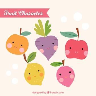 Ensemble de beaux personnages de fruits