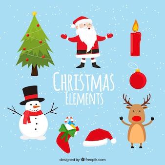 Ensemble de beaux personnages de Noël et de la décoration