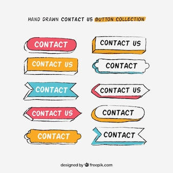 Ensemble de boutons de contact dessinés à la main
