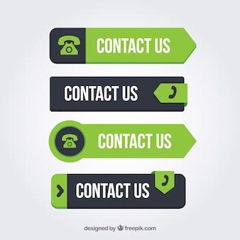 Ensemble de boutons de contact vert