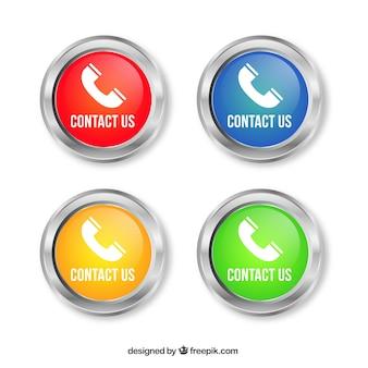 Ensemble de boutons ronds avec téléphone
