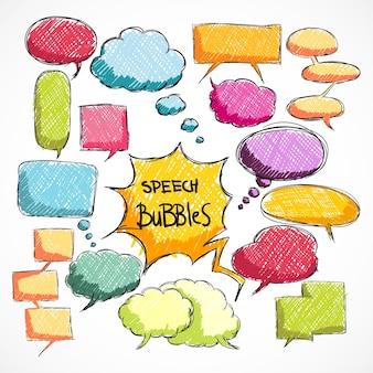 Ensemble de bulles colorées de la parole