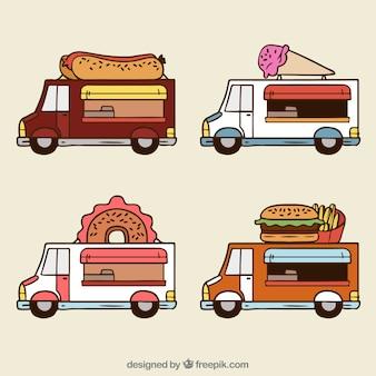 Ensemble de camions de nourriture tiré à la main avec style amusant