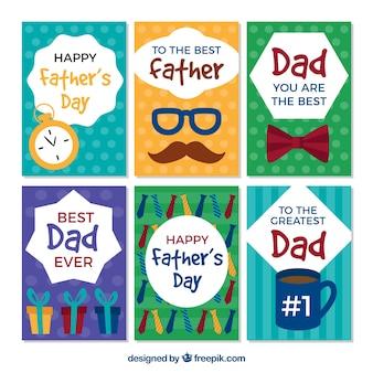 Ensemble de cartes de voeux pour le père dans un design plat