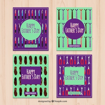 Ensemble de cartes heureuses du père avec des éléments