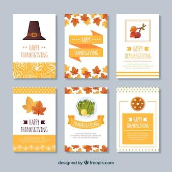 Ensemble de cartes vintage de thanksgiving