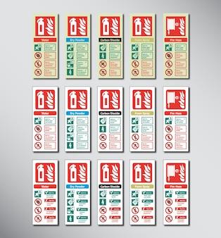 Ensemble de codes de couleur de l'extincteur d'incendie Modèle d'illustration de signe d'urgence