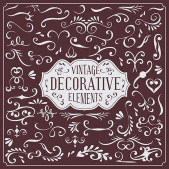 Ensemble de collection de vecteurs décoratifs vintage