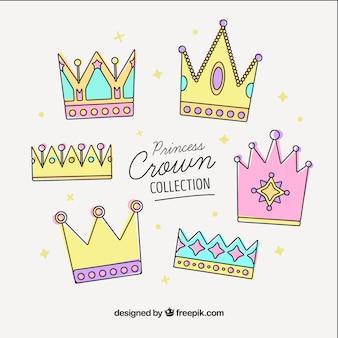 Ensemble de couronnes colorées en pastel en style linéaire