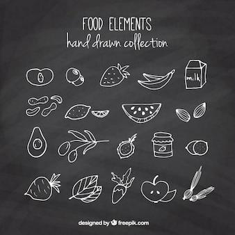 Ensemble de croquis fruits et légumes avec effet tableau noir