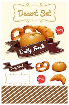 Ensemble de dessert avec l'illustration de pain et de pain