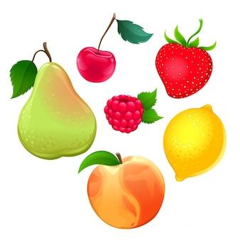 Ensemble de différents fruits vecteur isolé objets