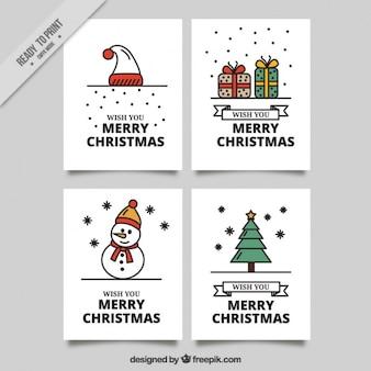 Ensemble de fantastiques cartes de Noël dans la conception plate