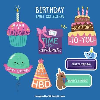 Ensemble de fantastiques étiquettes d'anniversaire