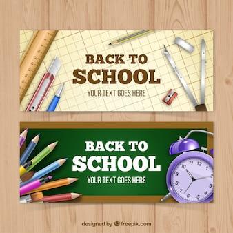 Ensemble de fournitures scolaires bannières dans un style réaliste