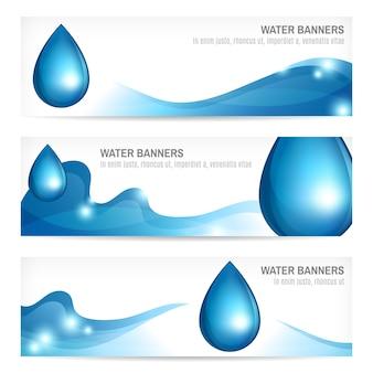 Ensemble de gouttes d'eau ondulé résumé nature splash bannières conception illustration vectorielle