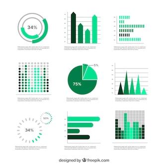 Ensemble de graphiques verts dans un design plat