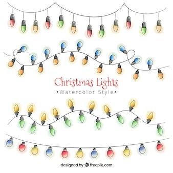 Ensemble de guirlandes de lumières de Noël d'aquarelle