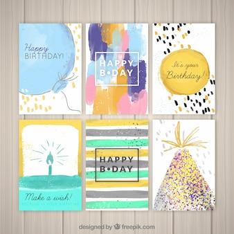 Ensemble de jolies cartes d'anniversaire d'aquarelle