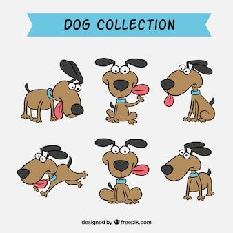Ensemble de jolis chiens dessinés à la main