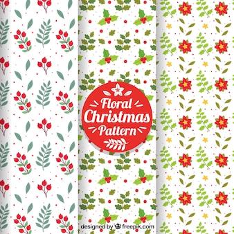 Ensemble de jolis motifs floraux de Noël