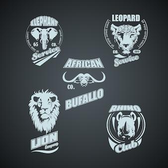 Ensemble de logos d'animaux sauvages africains vintage