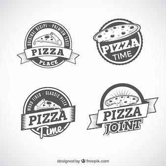 Ensemble de logos rétro de pizzas