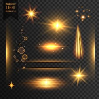 Ensemble de lumières transparentes étincelles et arrière-plan effet effet flambeau