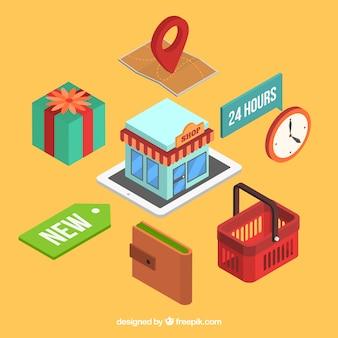 Ensemble de magasin en ligne et éléments de commerce électronique