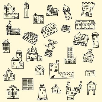 Ensemble de maisons de doodle vectoriel