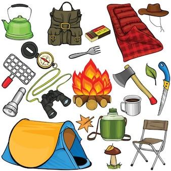 Ensemble de matériel de camping dans le style de bande dessinée