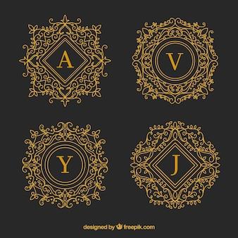 Ensemble de monogrammes décoratifs dorés