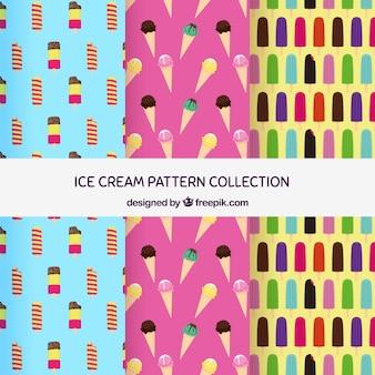 Ensemble de motifs avec différents types de glaces