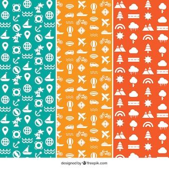 Ensemble de motifs de voyage en trois couleurs