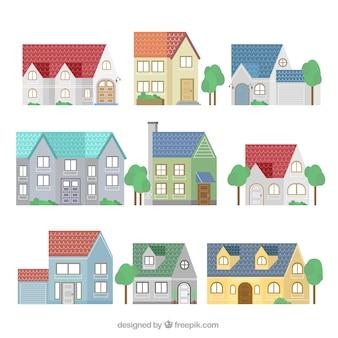 Ensemble de neuf façades de maisons modernes