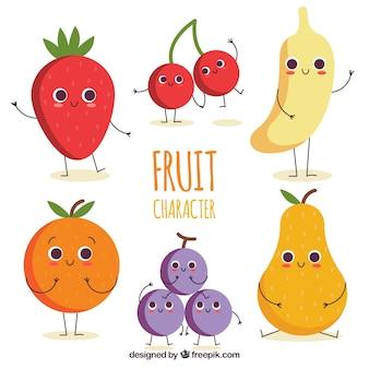 Ensemble de personnages de fruits heureux