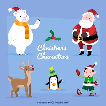 Ensemble de personnages de Noël mignons avec le père Noël