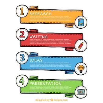 Ensemble de quatre bannières infographiques avec différentes couleurs