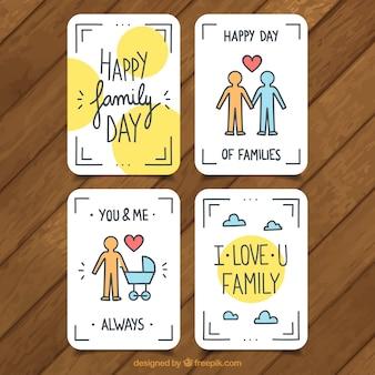 Ensemble de quatre cartes de voeux plates pour le jour de la famille