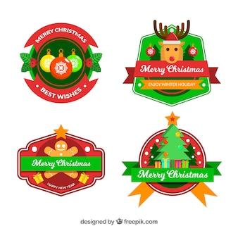 Ensemble de quatre jolis badges de Noël
