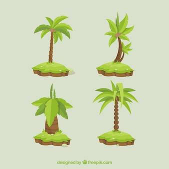 Ensemble de quatre palmiers dans un design plat