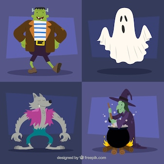 Ensemble de quatre personnages de Halloween