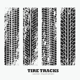 Ensemble de quatre pistes de pneus de roue grungy