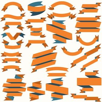Ensemble de rubans colorés de style plat