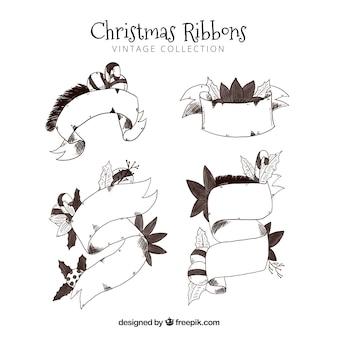 Ensemble de rubans de Noël dessinés à la main