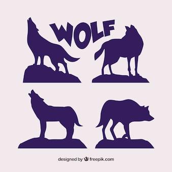 Ensemble de silhouettes de loup