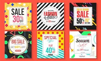 Ensemble de six affiches de vente, conception de bannières.