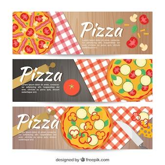Ensemble de trois bannières alimentaires italiennes
