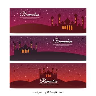 Ensemble de trois bannières avec mosquée pour ramadan