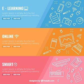Ensemble de trois bannières d'éducation numérique avec des éléments blancs en design plat